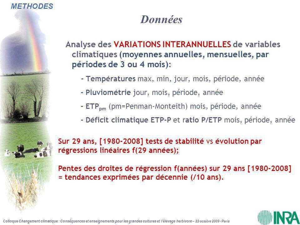METHODES Données. Analyse des VARIATIONS INTERANNUELLES de variables climatiques (moyennes annuelles, mensuelles, par périodes de 3 ou 4 mois):