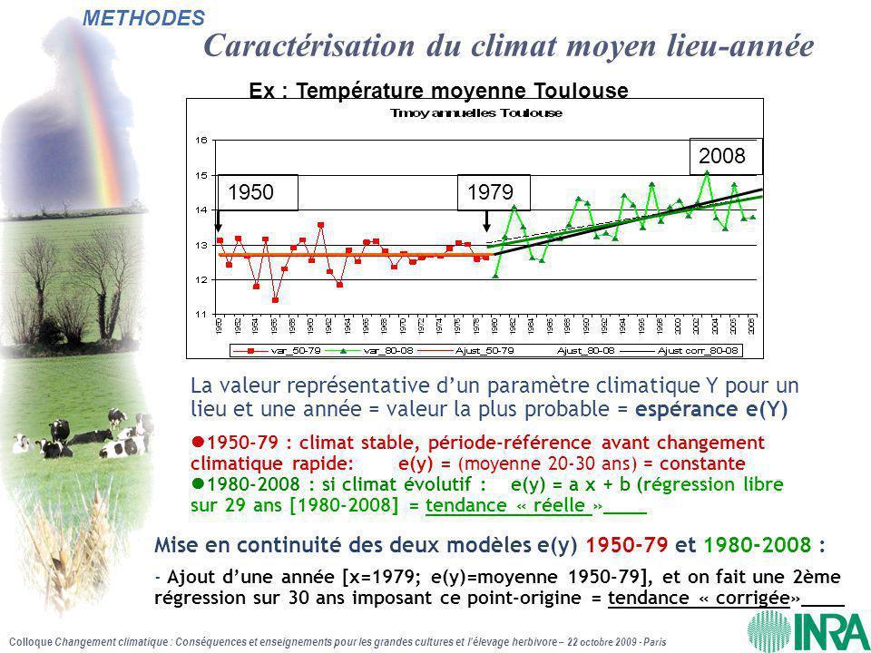 Caractérisation du climat moyen lieu-année