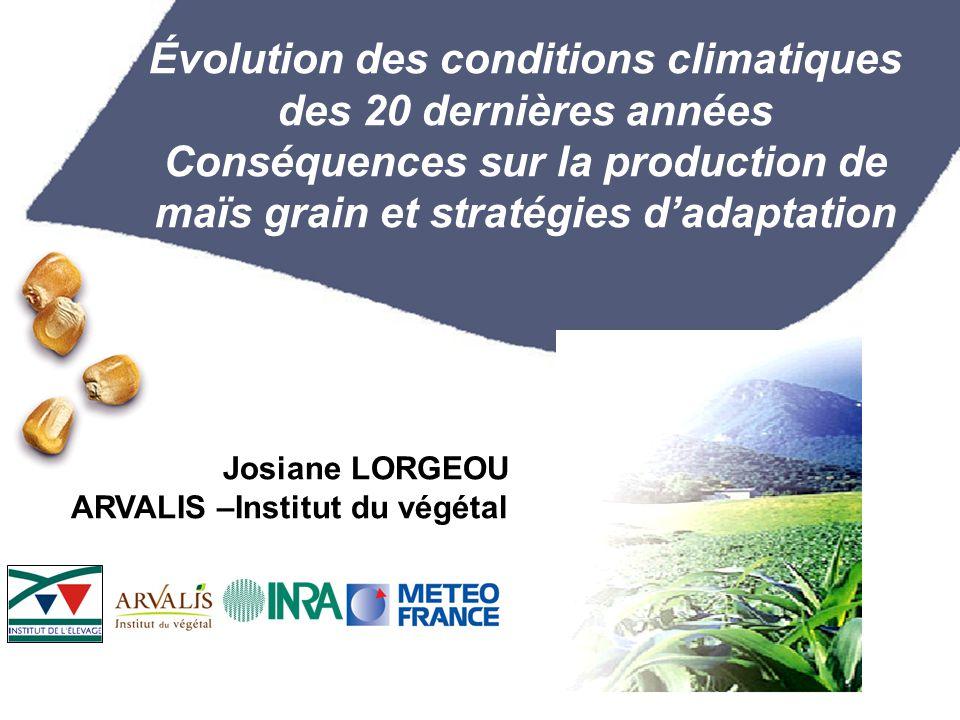 Évolution des conditions climatiques des 20 dernières années