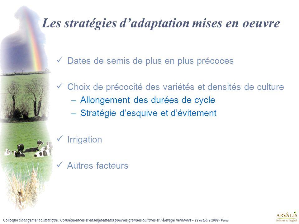 Les stratégies d'adaptation mises en oeuvre