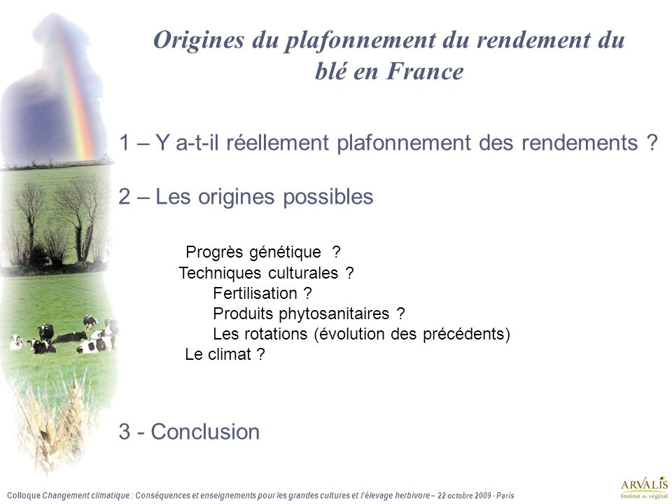 Origines du plafonnement du rendement du blé en France