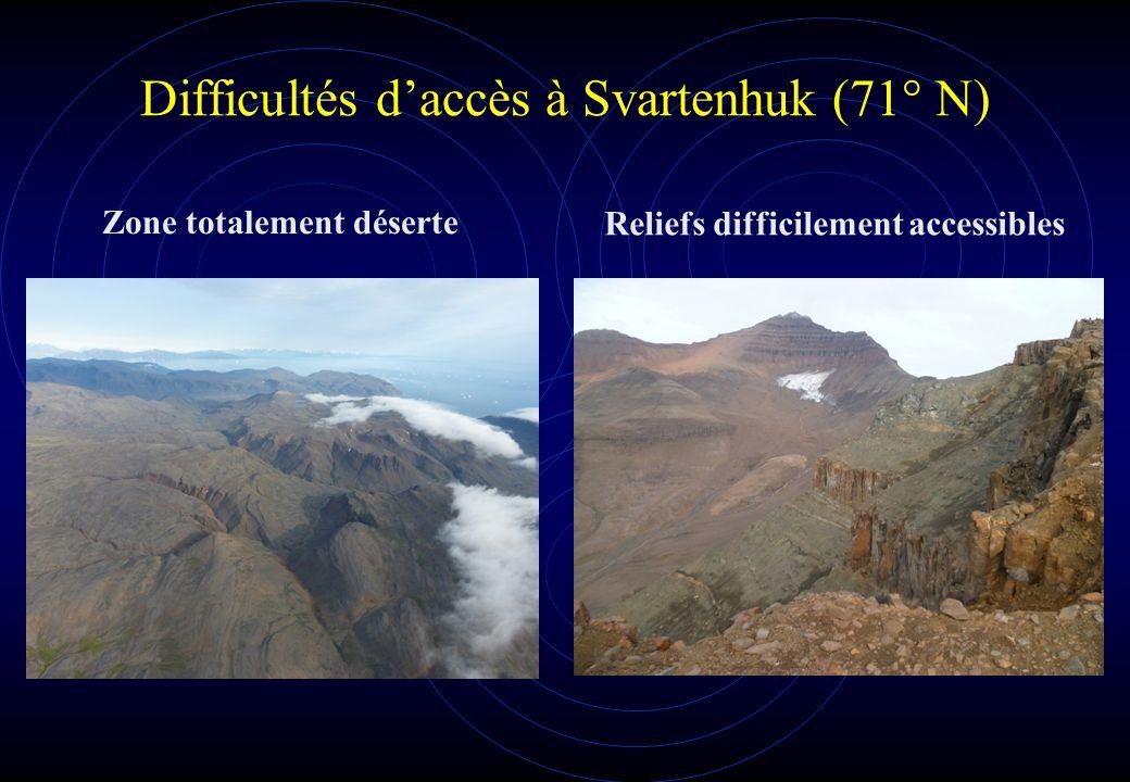 Difficultés d'accès à Svartenhuk (71° N)