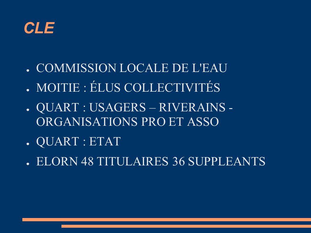 CLE COMMISSION LOCALE DE L EAU MOITIE : ÉLUS COLLECTIVITÉS