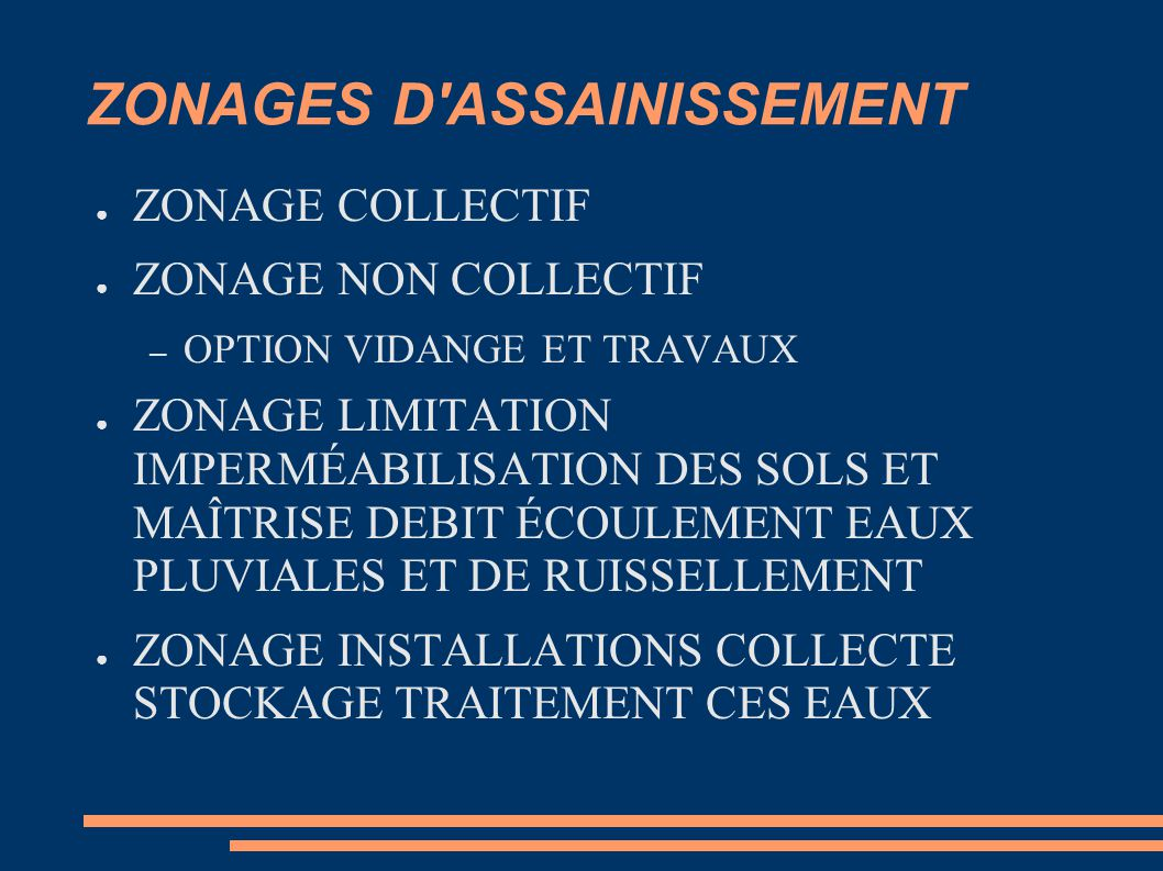 ZONAGES D ASSAINISSEMENT