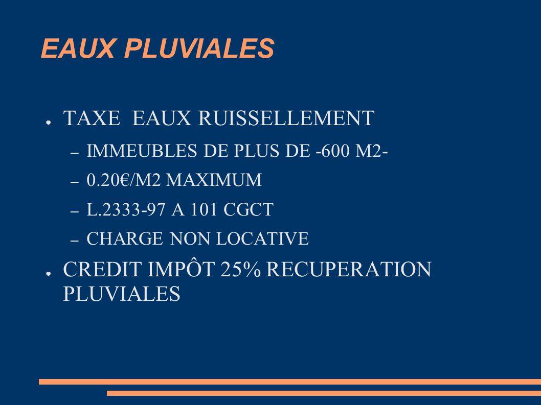 EAUX PLUVIALES TAXE EAUX RUISSELLEMENT