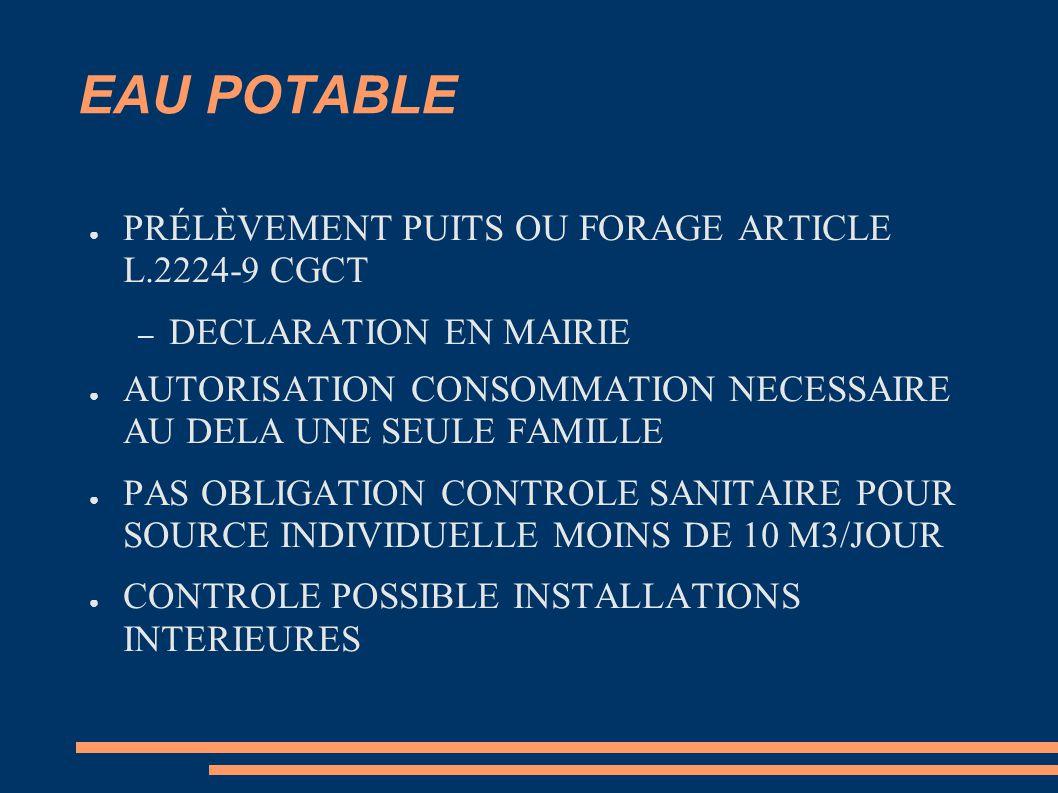 EAU POTABLE PRÉLÈVEMENT PUITS OU FORAGE ARTICLE L.2224-9 CGCT