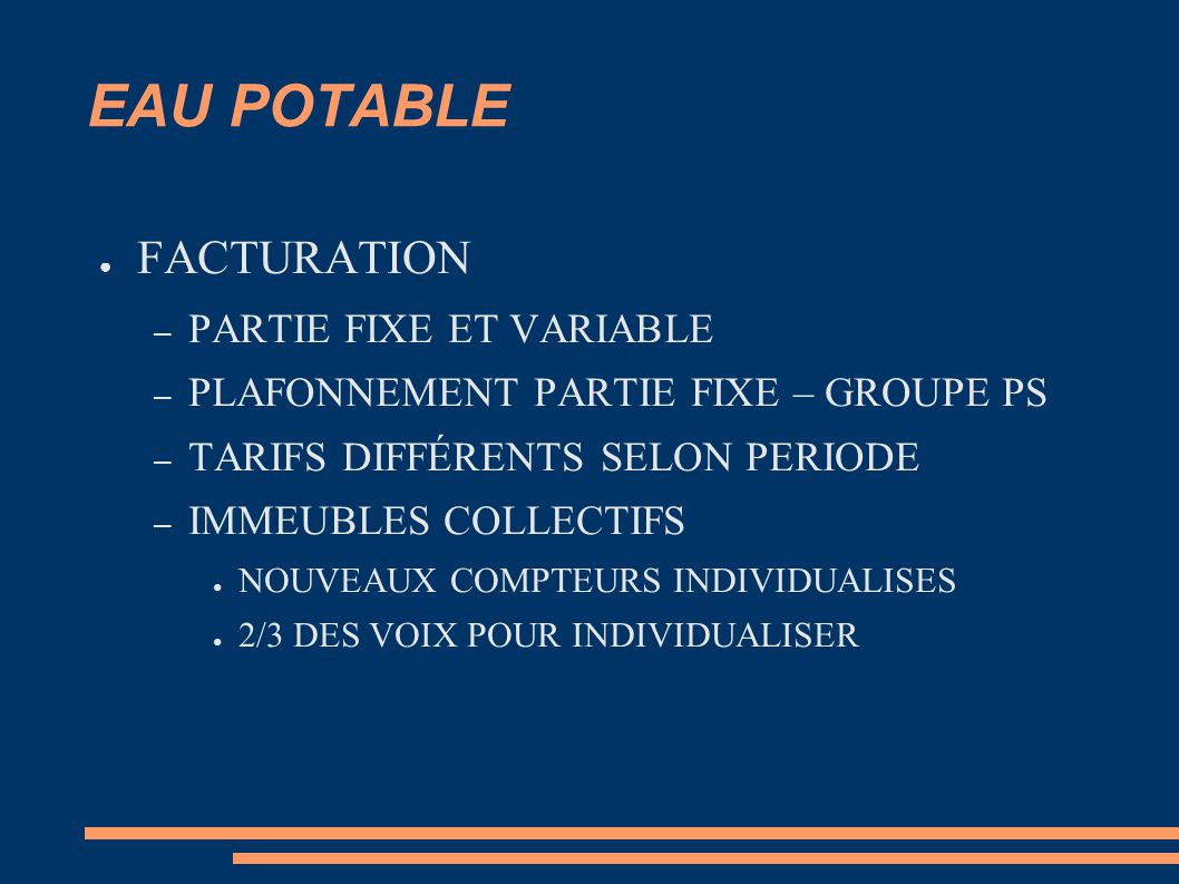 EAU POTABLE FACTURATION PARTIE FIXE ET VARIABLE