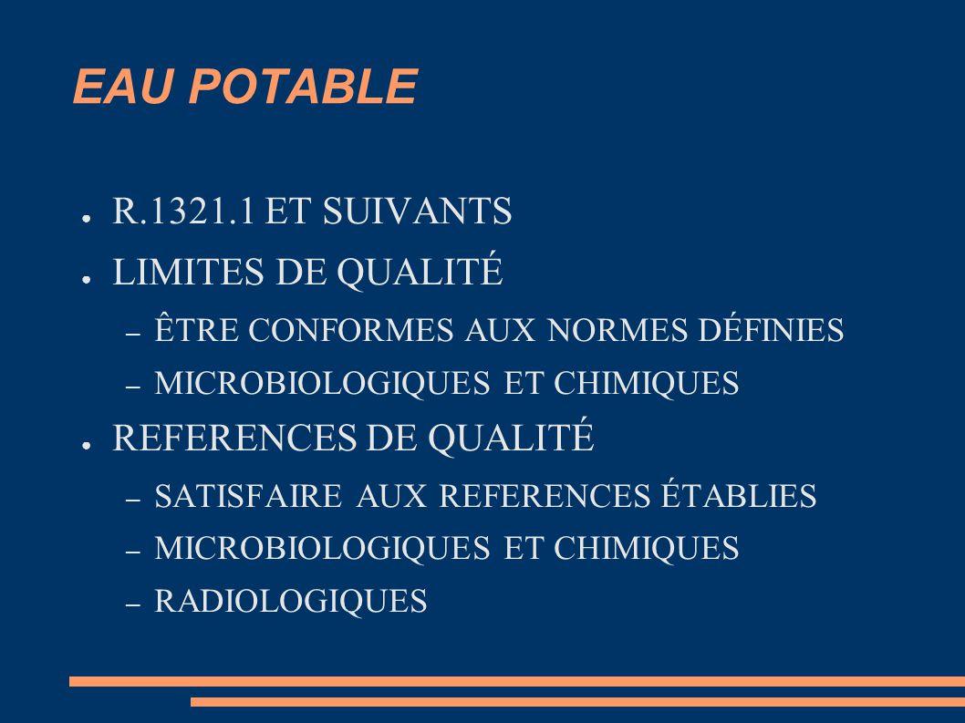 EAU POTABLE R.1321.1 ET SUIVANTS LIMITES DE QUALITÉ