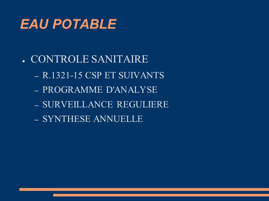 EAU POTABLE CONTROLE SANITAIRE R.1321-15 CSP ET SUIVANTS