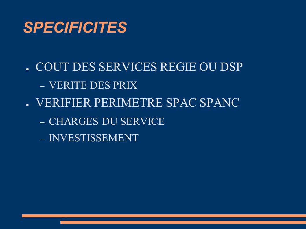 SPECIFICITES COUT DES SERVICES REGIE OU DSP