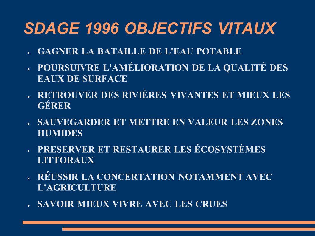 SDAGE 1996 OBJECTIFS VITAUX