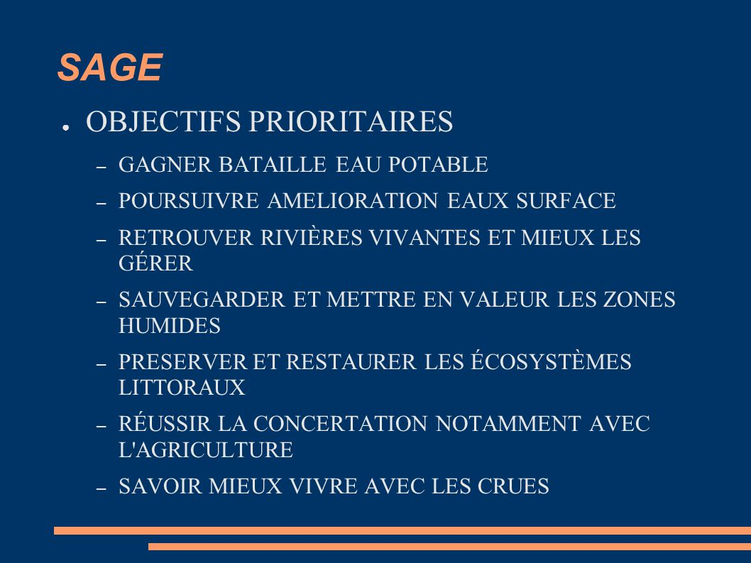 SAGE OBJECTIFS PRIORITAIRES GAGNER BATAILLE EAU POTABLE
