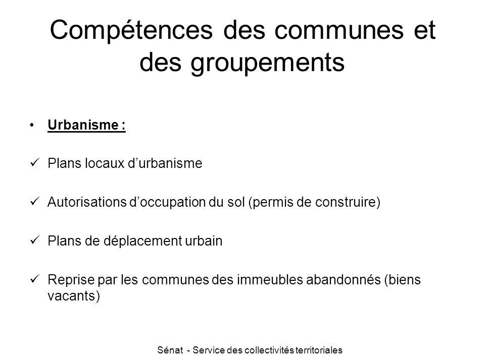 Compétences des communes et des groupements