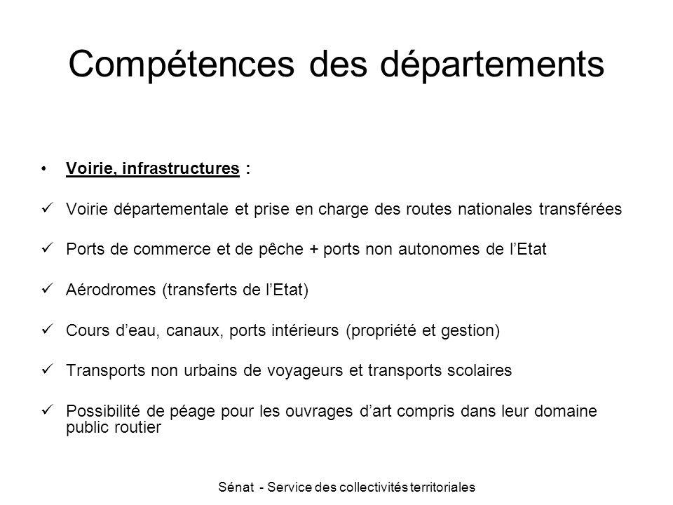 Compétences des départements