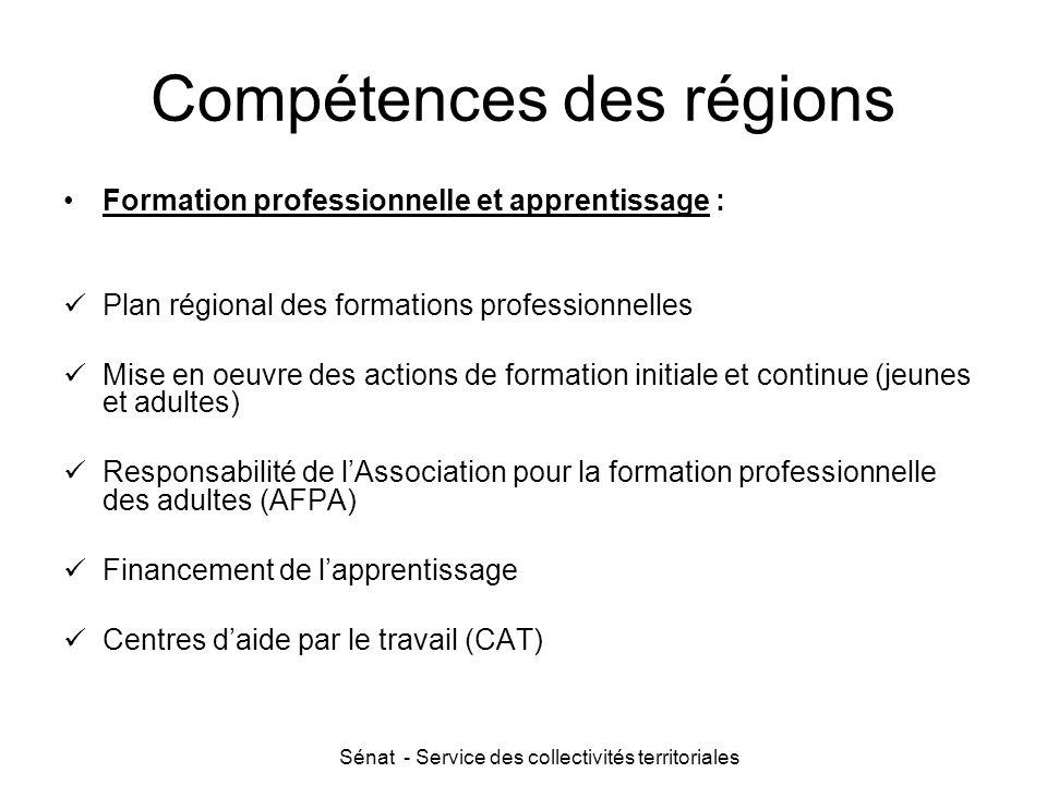 Compétences des régions