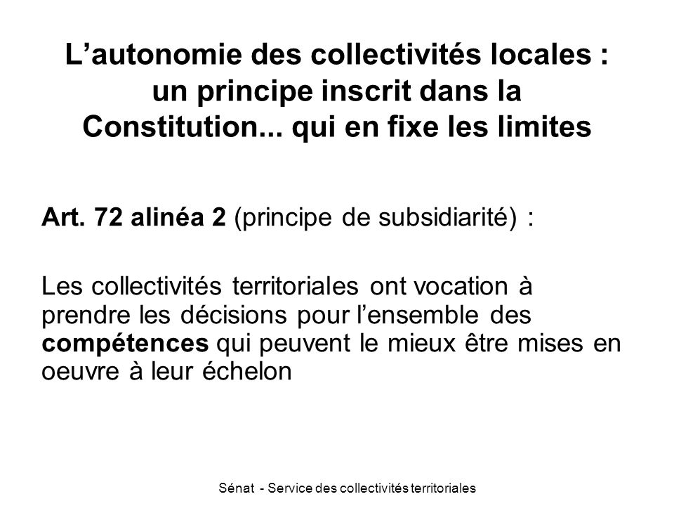 Sénat - Service des collectivités territoriales