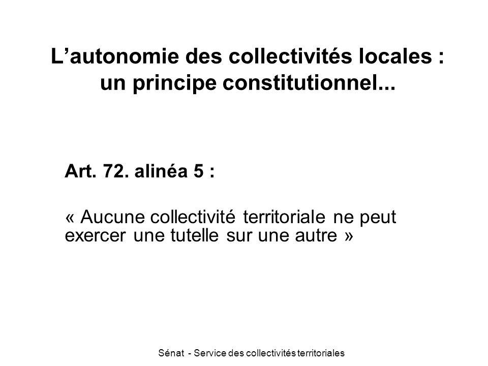 L'autonomie des collectivités locales : un principe constitutionnel...