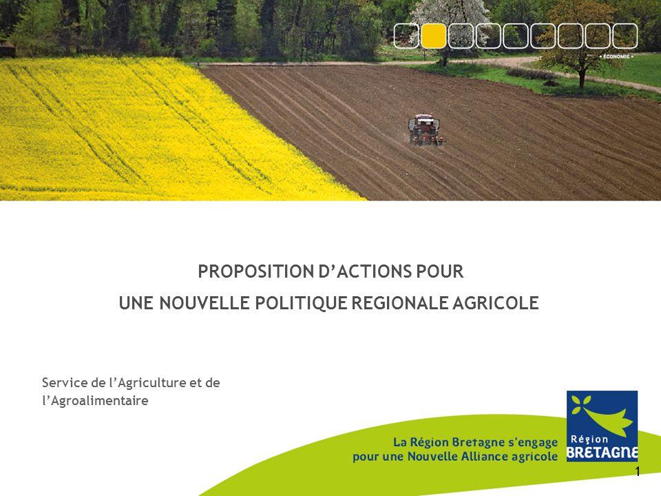 PROPOSITION D'ACTIONS POUR UNE NOUVELLE POLITIQUE REGIONALE AGRICOLE