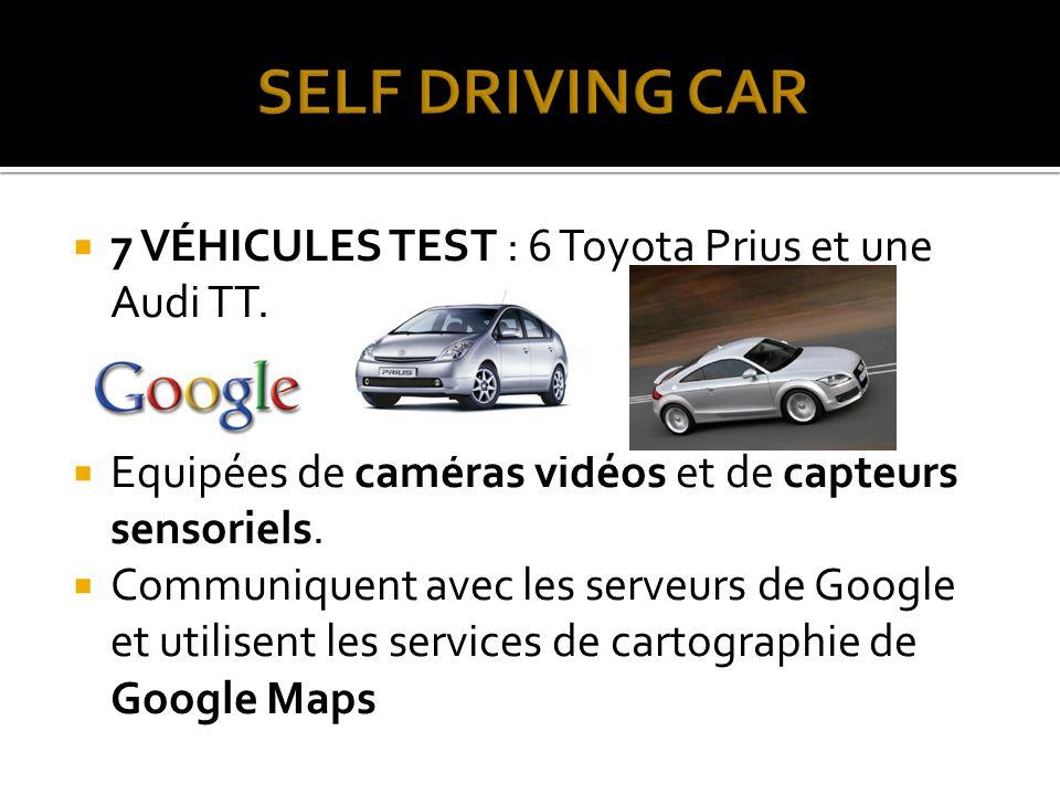 SELF DRIVING CAR 7 VÉHICULES TEST : 6 Toyota Prius et une Audi TT.