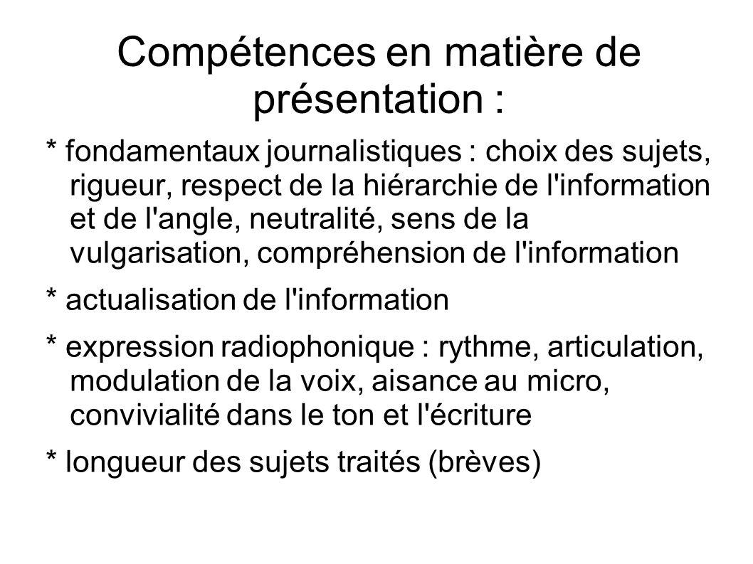 Compétences en matière de présentation :
