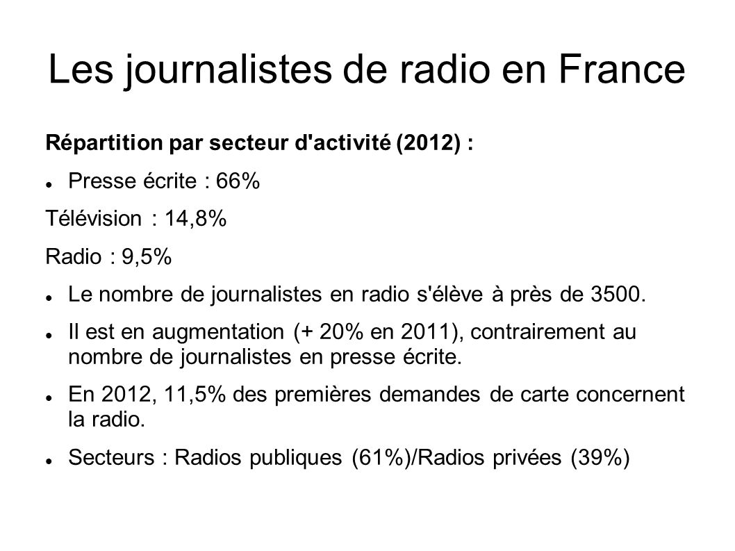 Les journalistes de radio en France