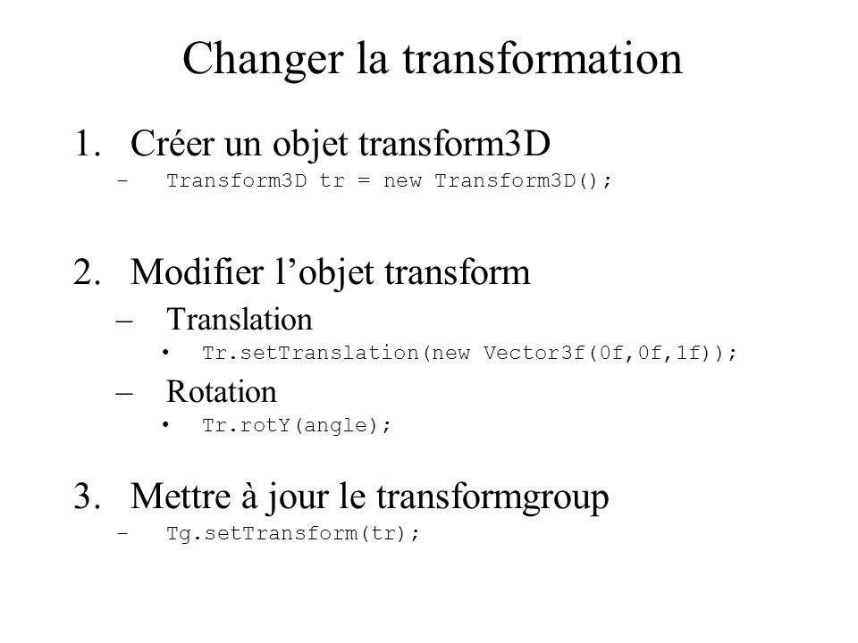 Changer la transformation