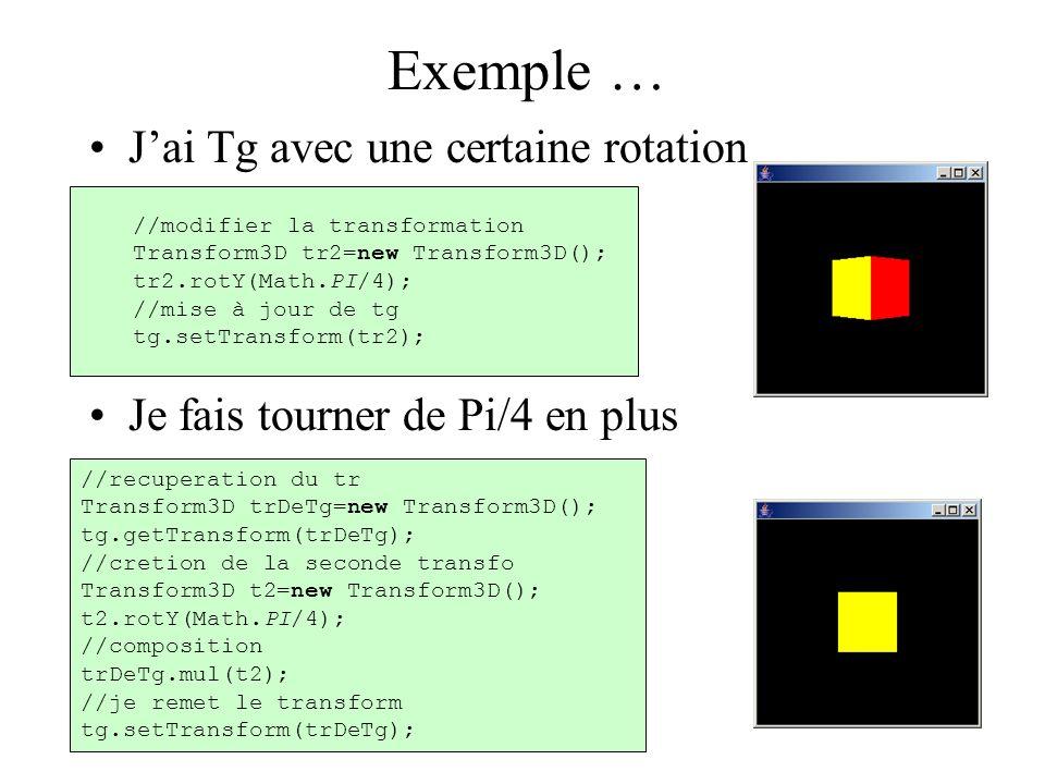 Exemple … J'ai Tg avec une certaine rotation