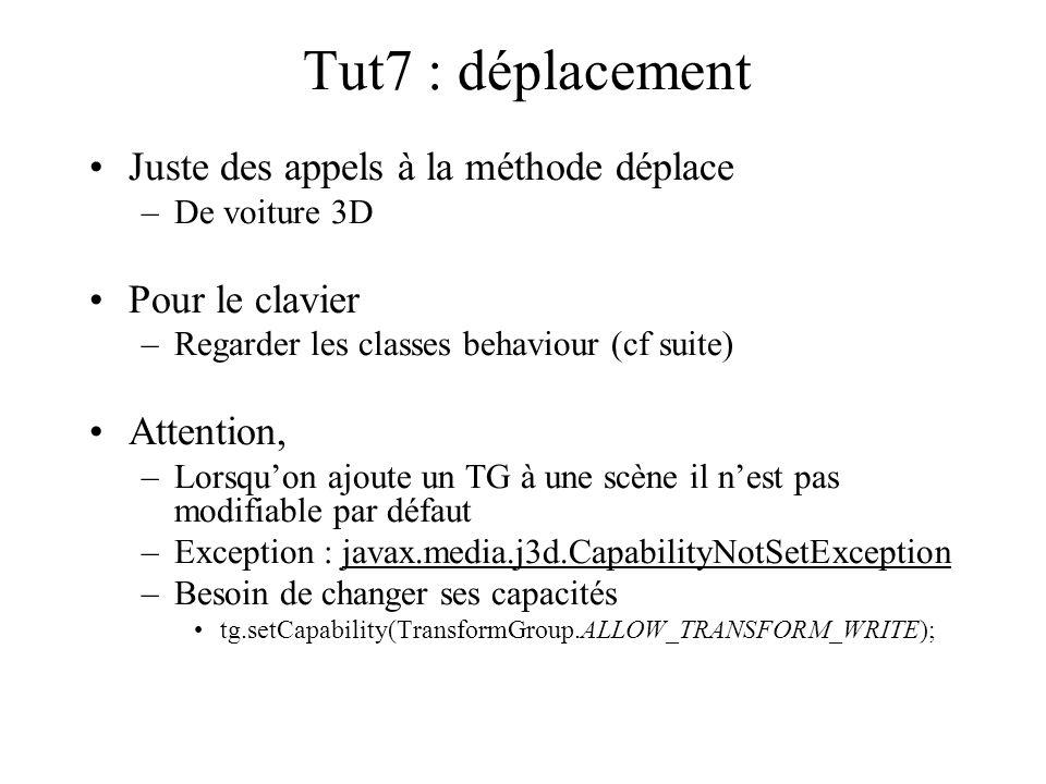 Tut7 : déplacement Juste des appels à la méthode déplace