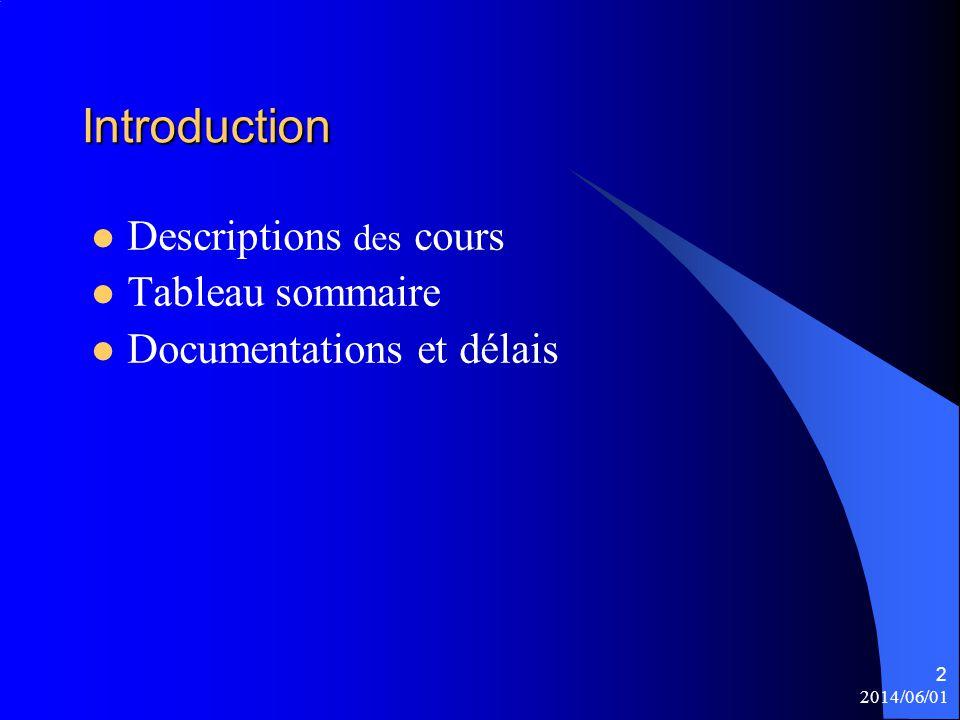 Introduction Descriptions des cours Tableau sommaire
