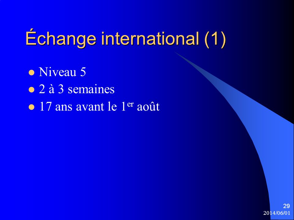 Échange international (1)