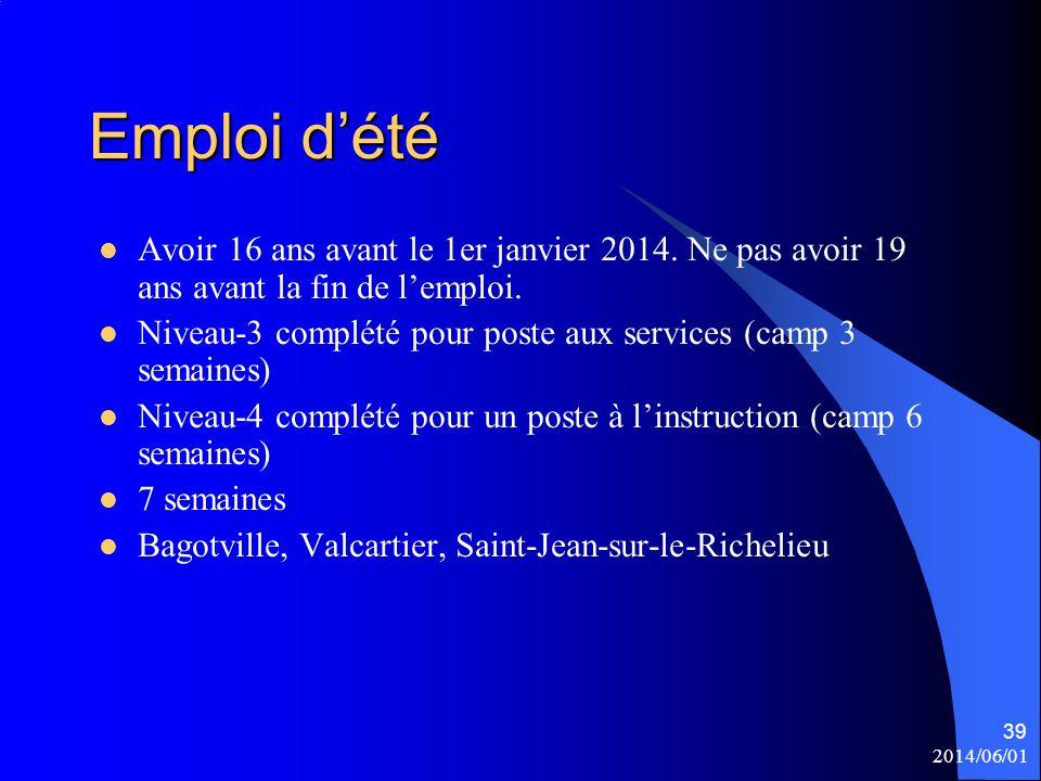 Emploi d'été Avoir 16 ans avant le 1er janvier 2014. Ne pas avoir 19 ans avant la fin de l'emploi.
