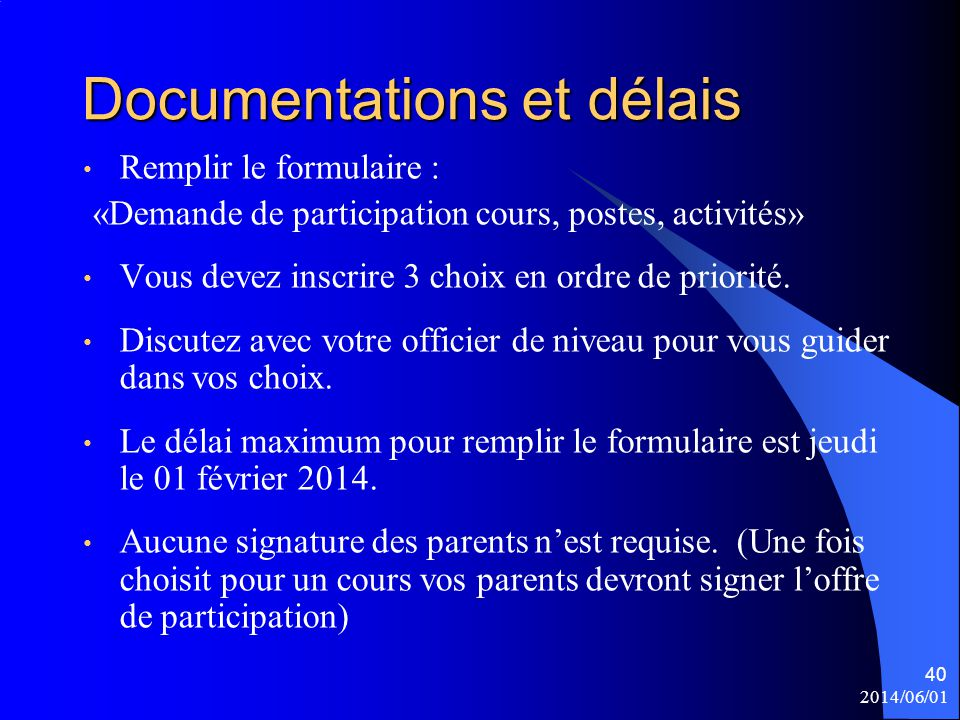 Documentations et délais