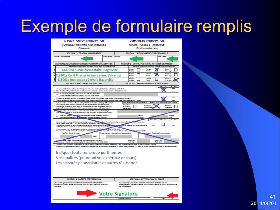 Exemple de formulaire remplis