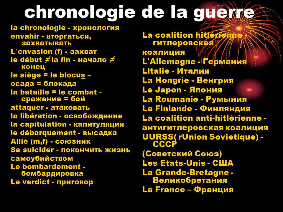 chronologie de la guerre