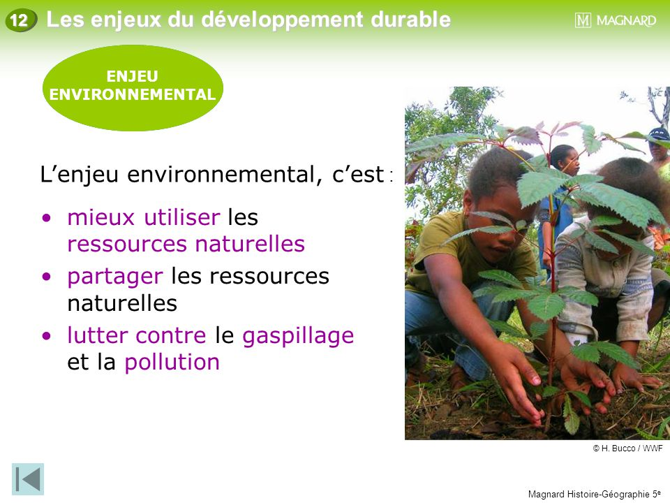 L'enjeu environnemental, c'est :