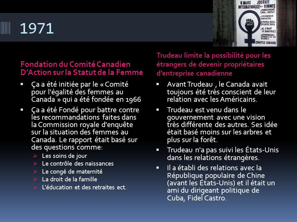 1971 Fondation du Comité Canadien D'Action sur la Statut de la Femme
