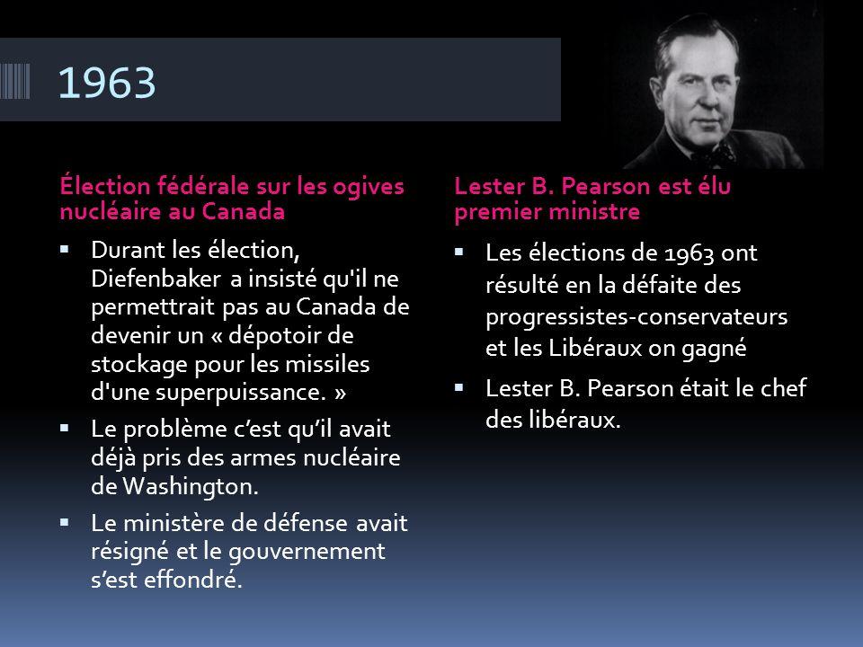 1963 Élection fédérale sur les ogives nucléaire au Canada