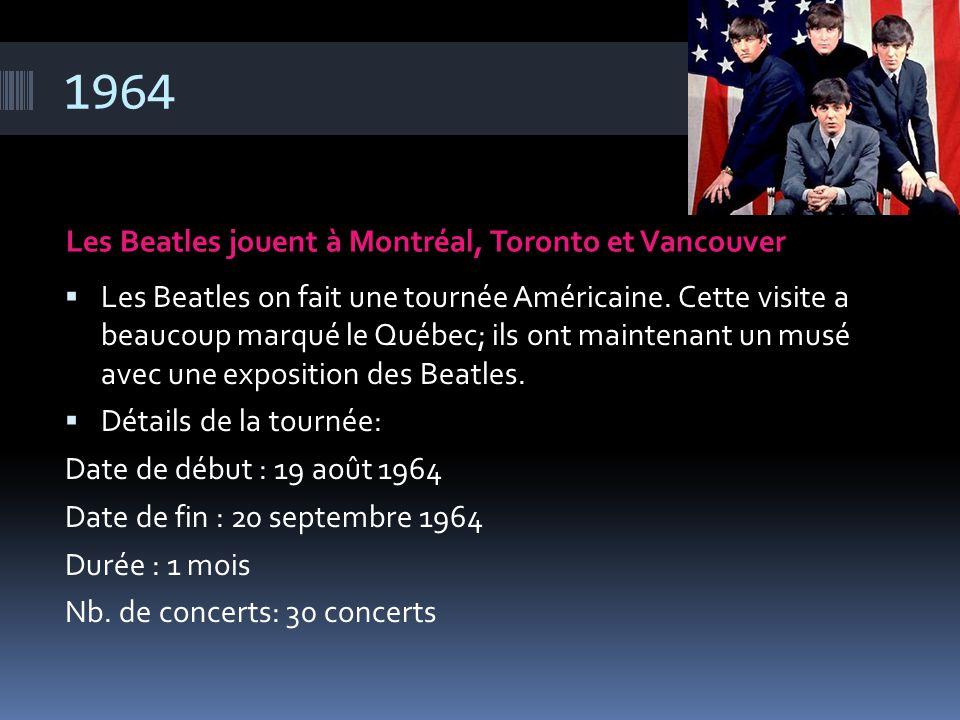 1964 Les Beatles jouent à Montréal, Toronto et Vancouver