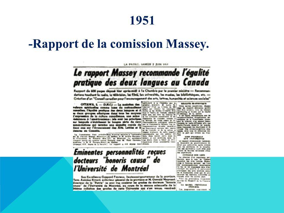 1951 -Rapport de la comission Massey.