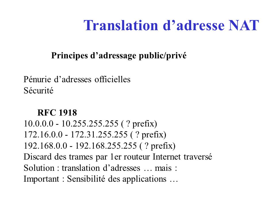 Translation d'adresse NAT