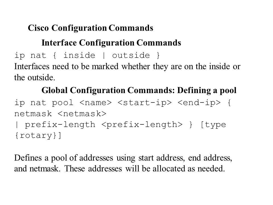 Cisco Configuration Commands