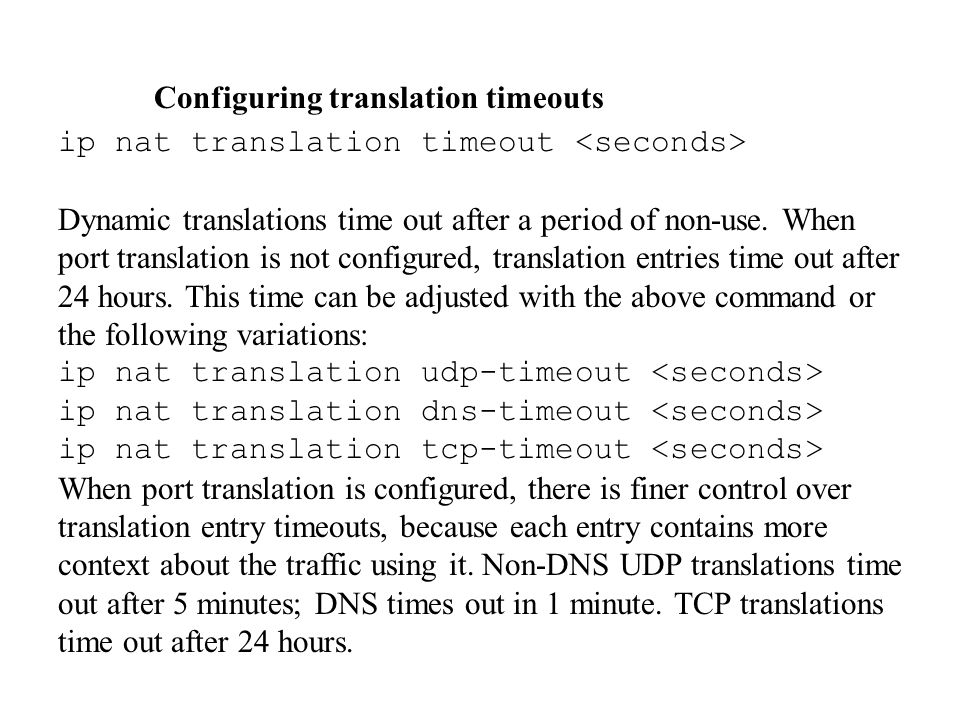 Configuring translation timeouts