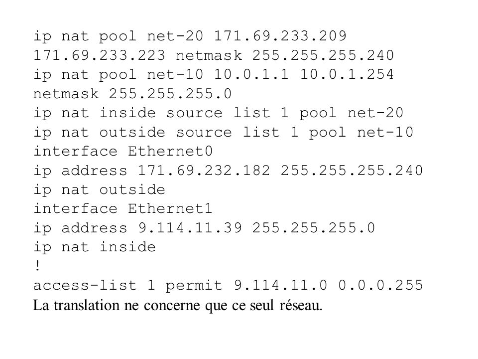ip nat pool net-20 171.69.233.209 171.69.233.223 netmask 255.255.255.240