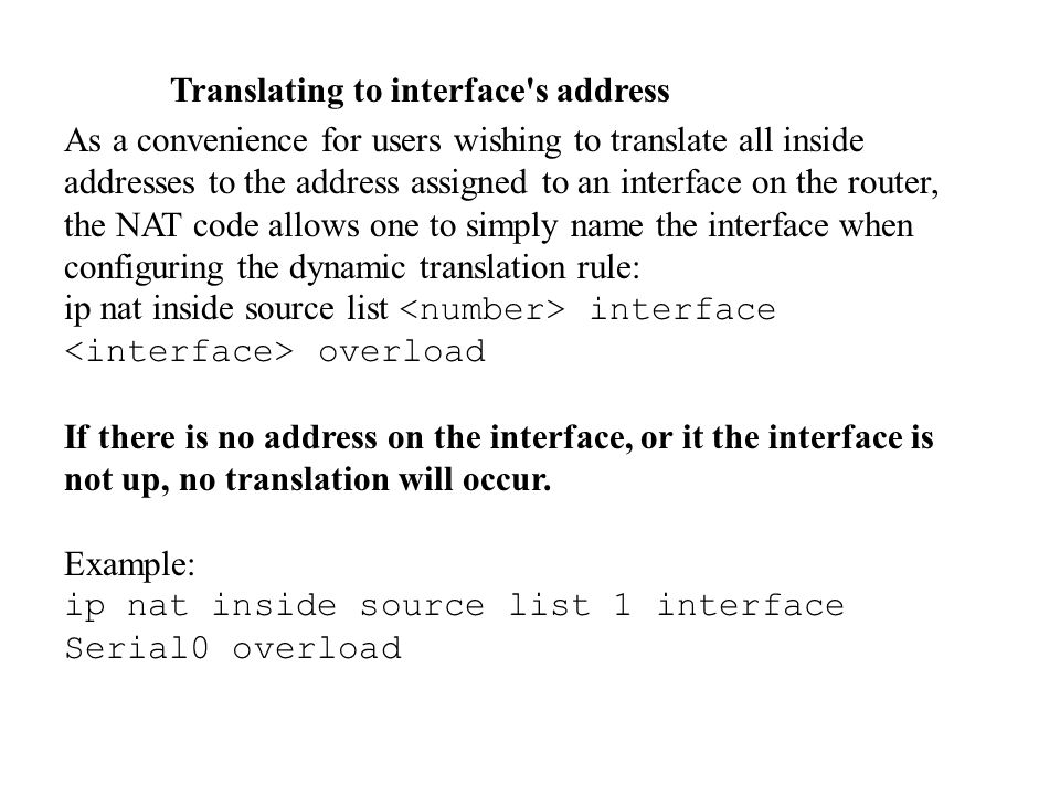 Translating to interface s address