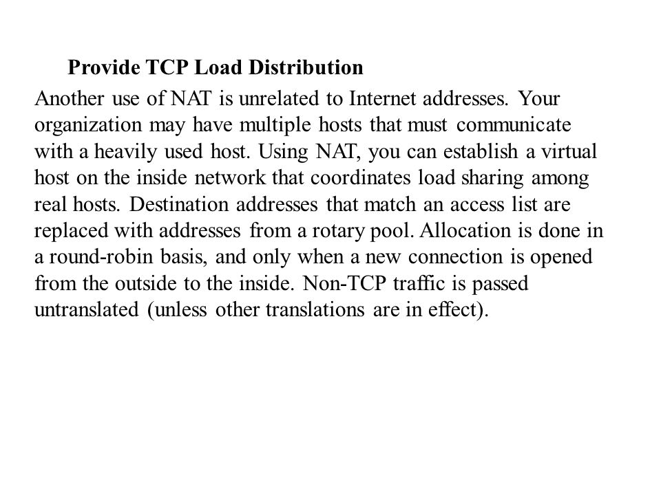Provide TCP Load Distribution