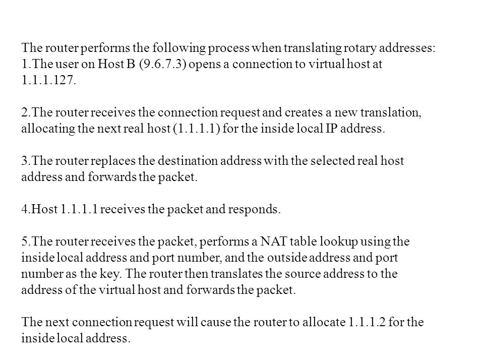 The router performs the following process when translating rotary addresses: