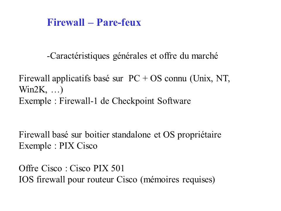 Firewall – Pare-feux Caractéristiques générales et offre du marché