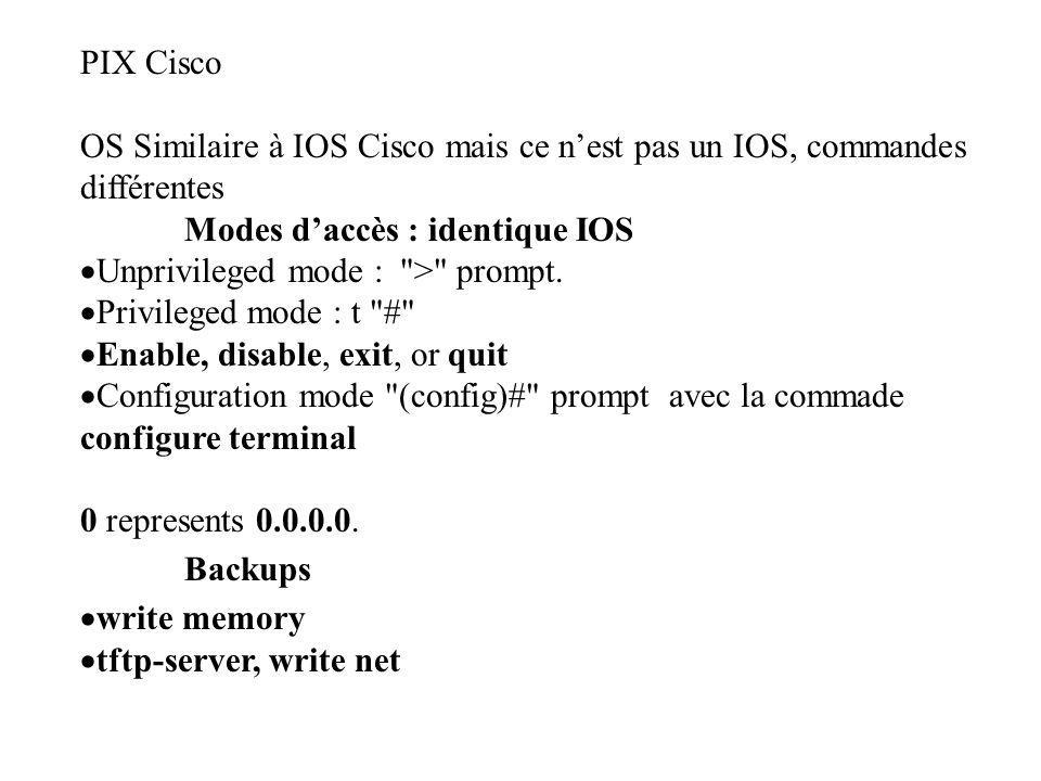 PIX Cisco OS Similaire à IOS Cisco mais ce n'est pas un IOS, commandes différentes. Modes d'accès : identique IOS.