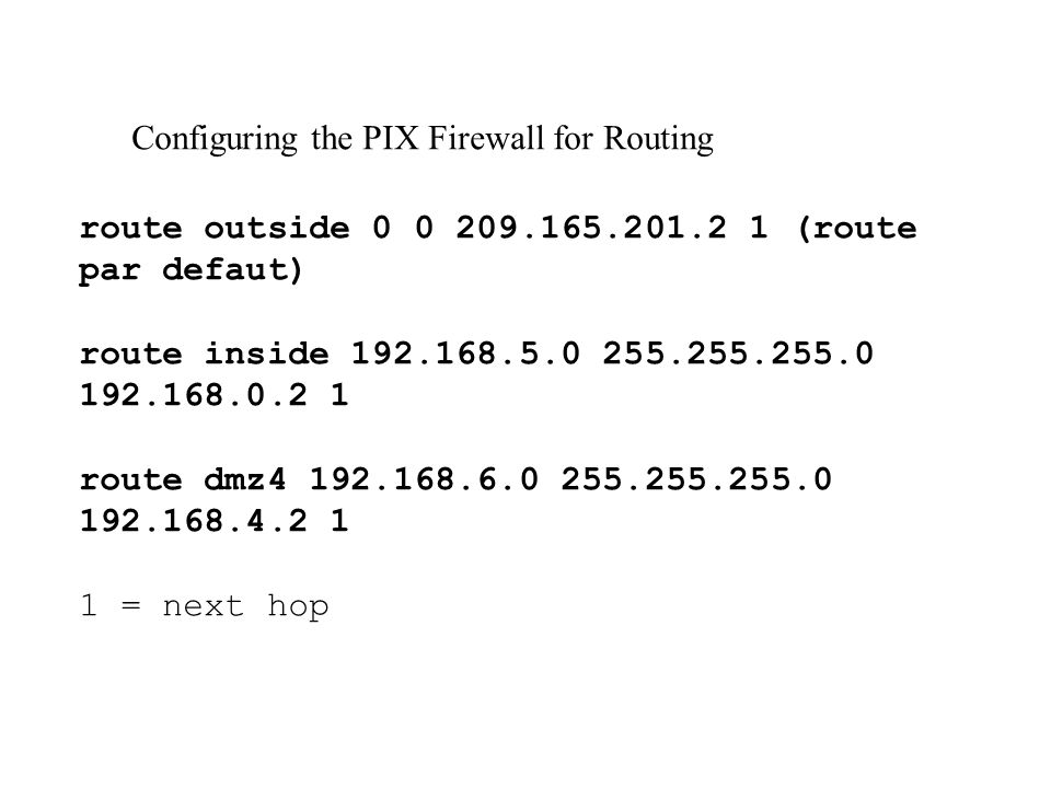 Configuring the PIX Firewall for Routing