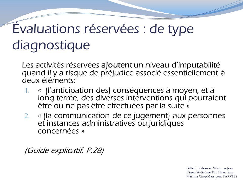 Évaluations réservées : de type diagnostique